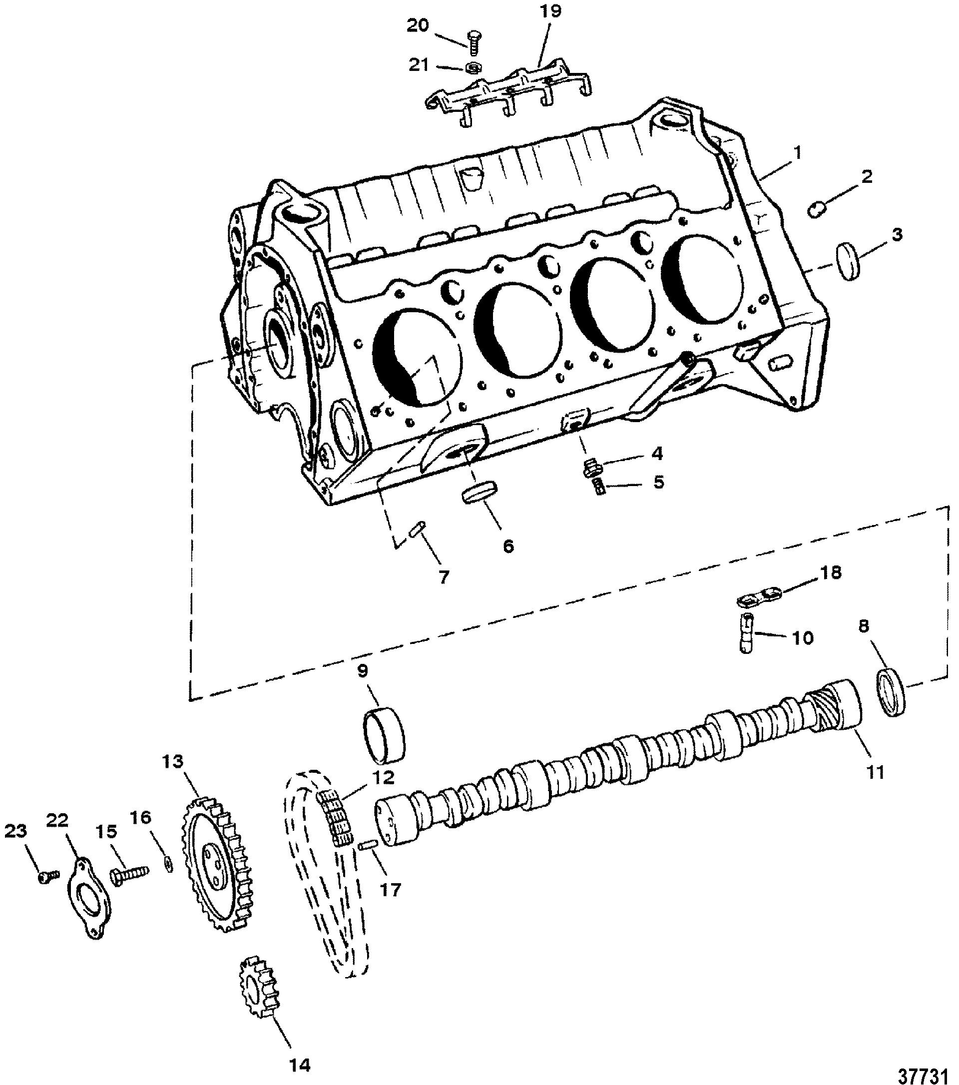 5.7L GM 350 V-8 1988-1995 - Serial 0B525982 Thru 0F600999 - Cylinder Block  And Camshaft (Roller Lifters)