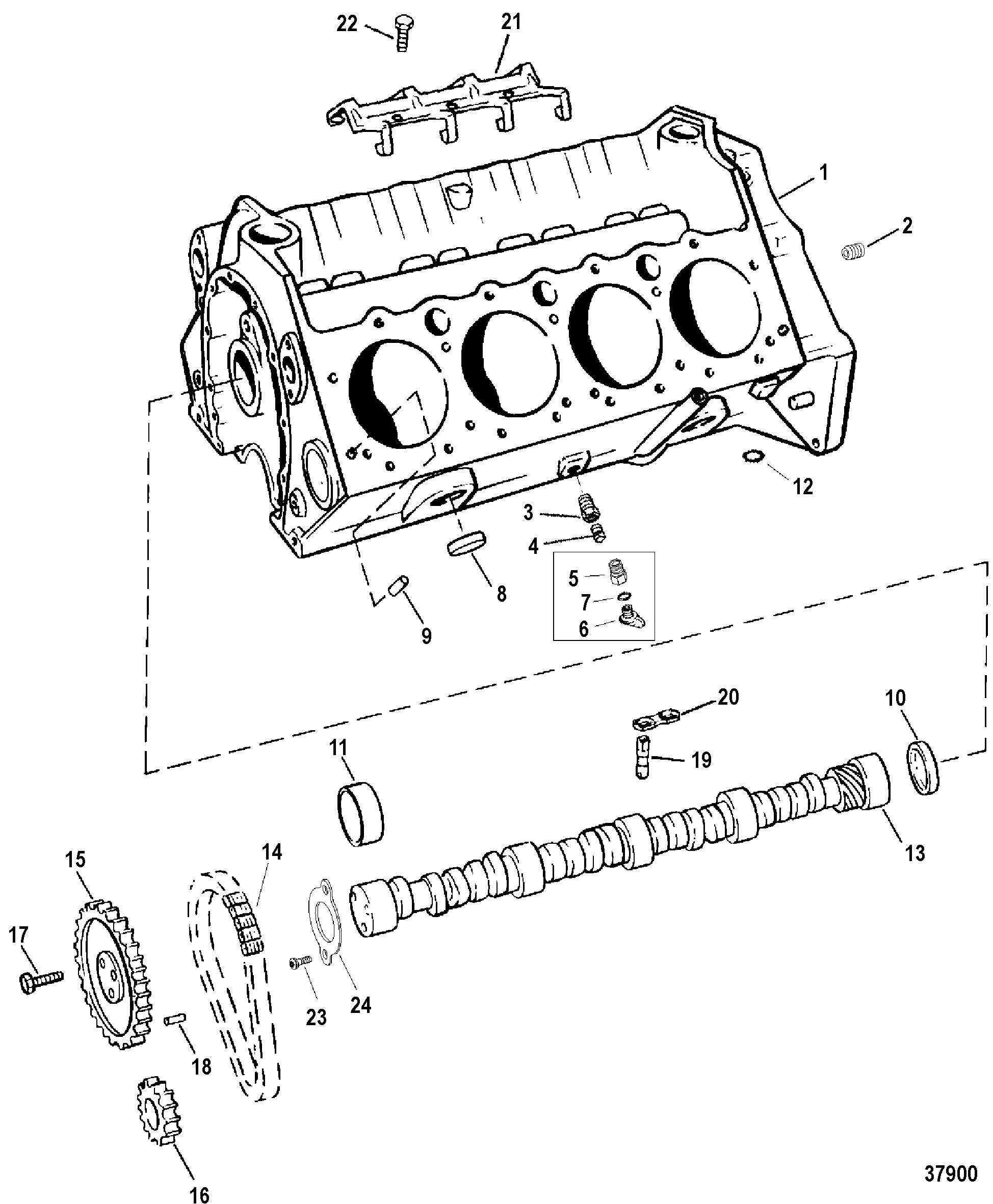 454 mag bravo (gen 5) gm v-8 1996-1997 - serial 0f801700 thru 0k999999 - cylinder  block and camshaft