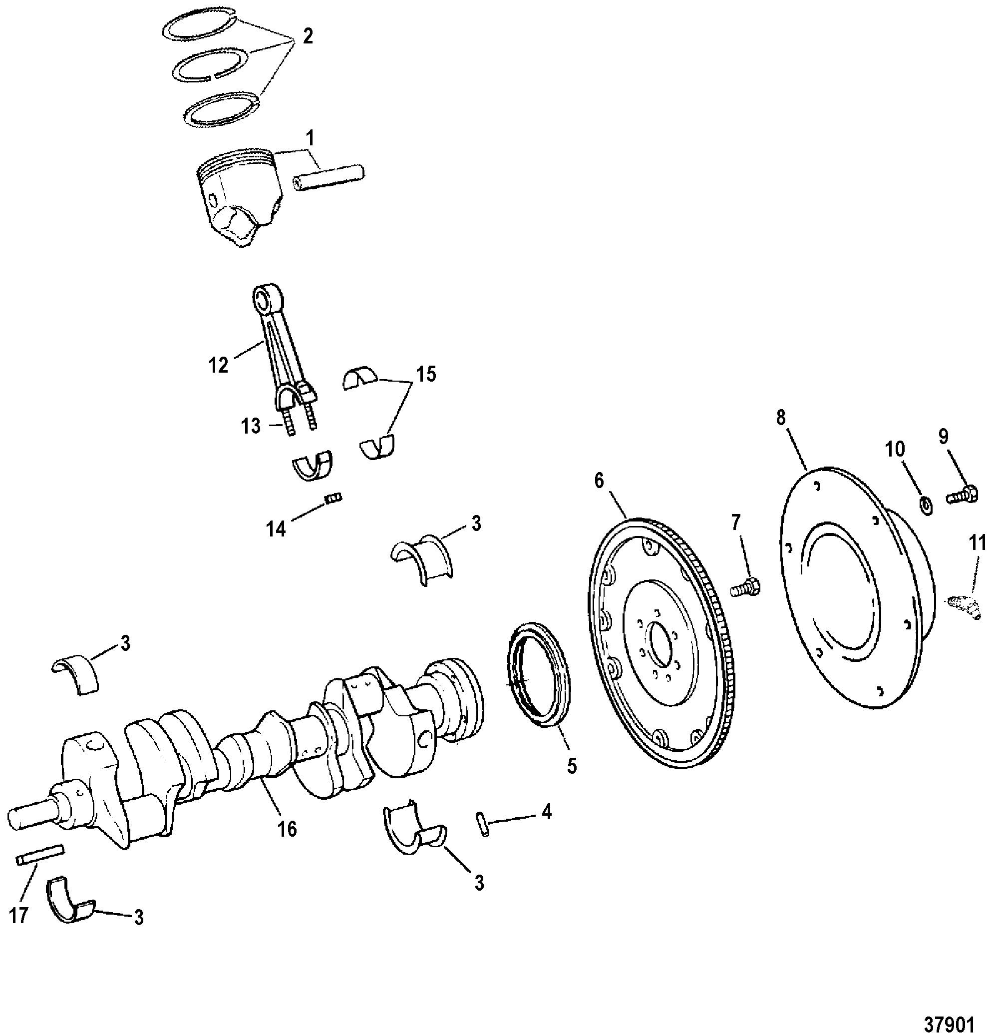 454 efi (gen 5) gm v-8 1994-1996 - serial 0f115700 thru 0f802349 -  crankshaft, pistons and connecting rods