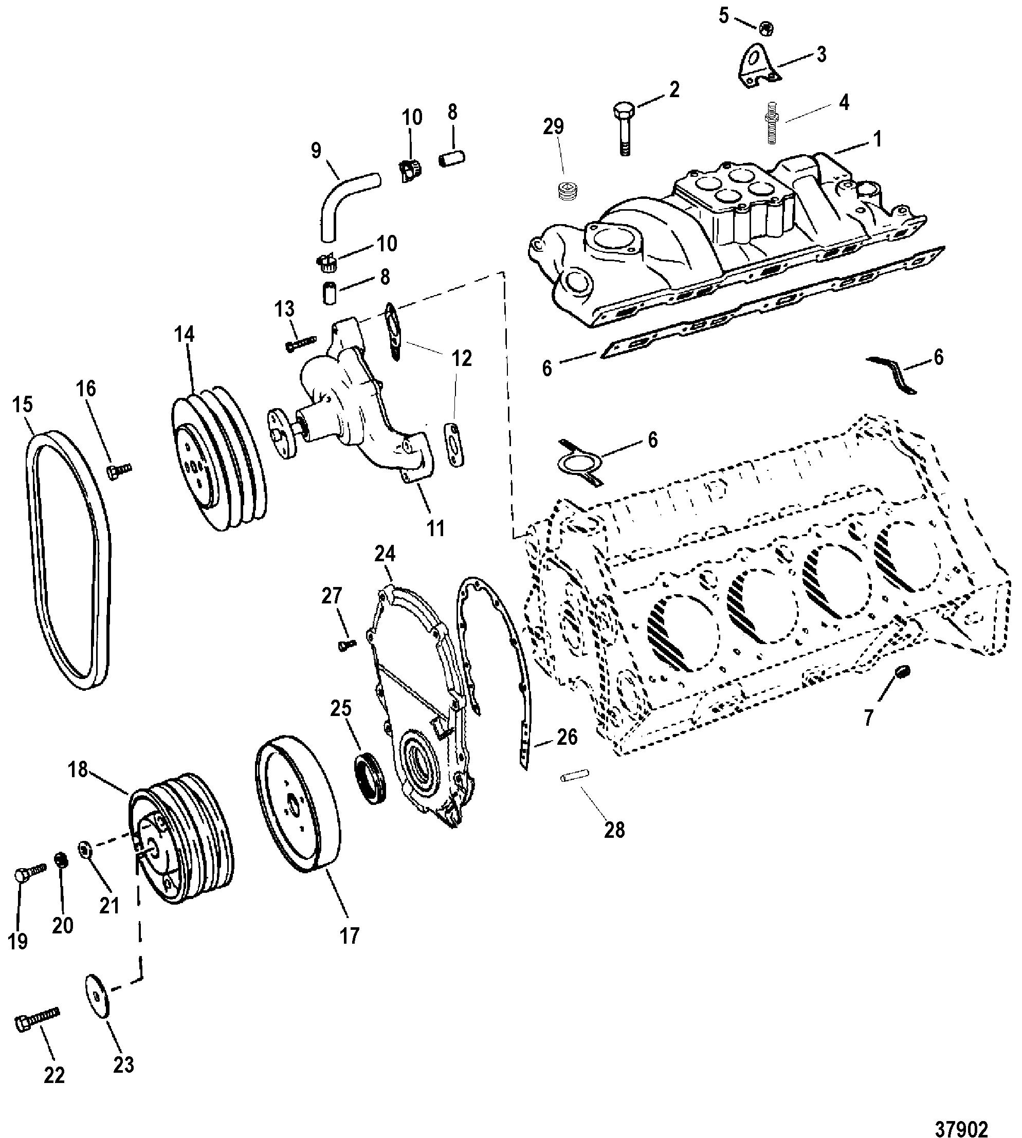 Hardin Marine Intake Manifold And Front Cover 10 Pin Mercruiser Wiring Harness 454 Mag Bravo Gen 5 Gm V 8 1996 1997 Serial 0f801700 Thru 0k999999