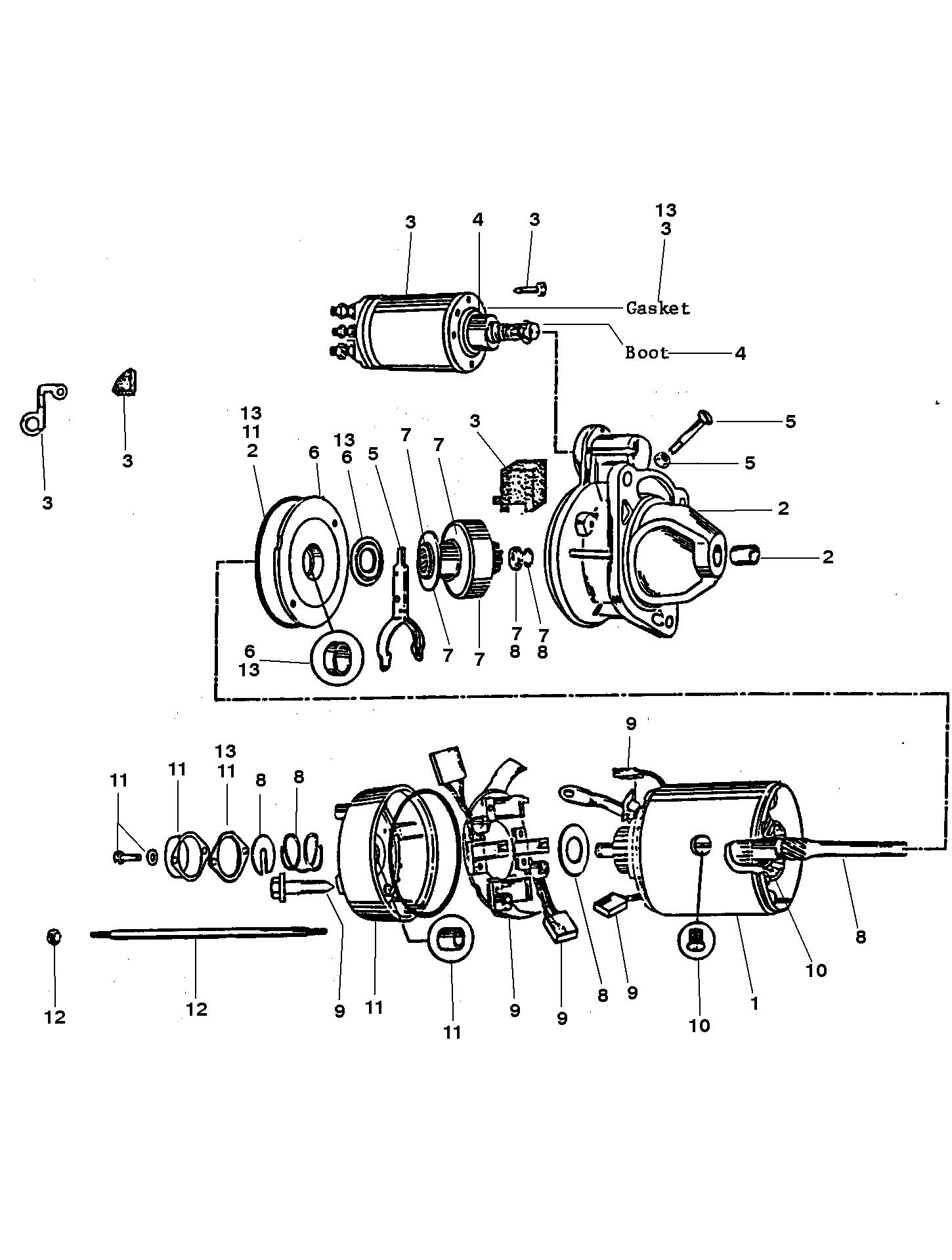 525 sc (gen 5) gm 454 v-8 1996 - serial 0f615814 thru 0f745215 - starter  assembly (50-808011a1)