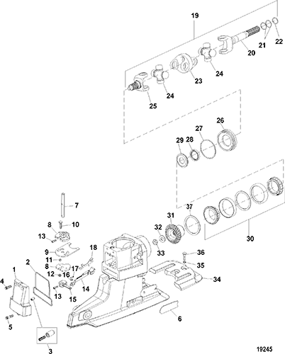 hardin marine universal joint shifter ponents x drive Bravo Two Lower Prop section drawing hover or click to view larger