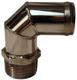 "Custom Handcrafted Stainless Fitting 1-1/4"" NPT X 1-1/4"" Hose 90°"