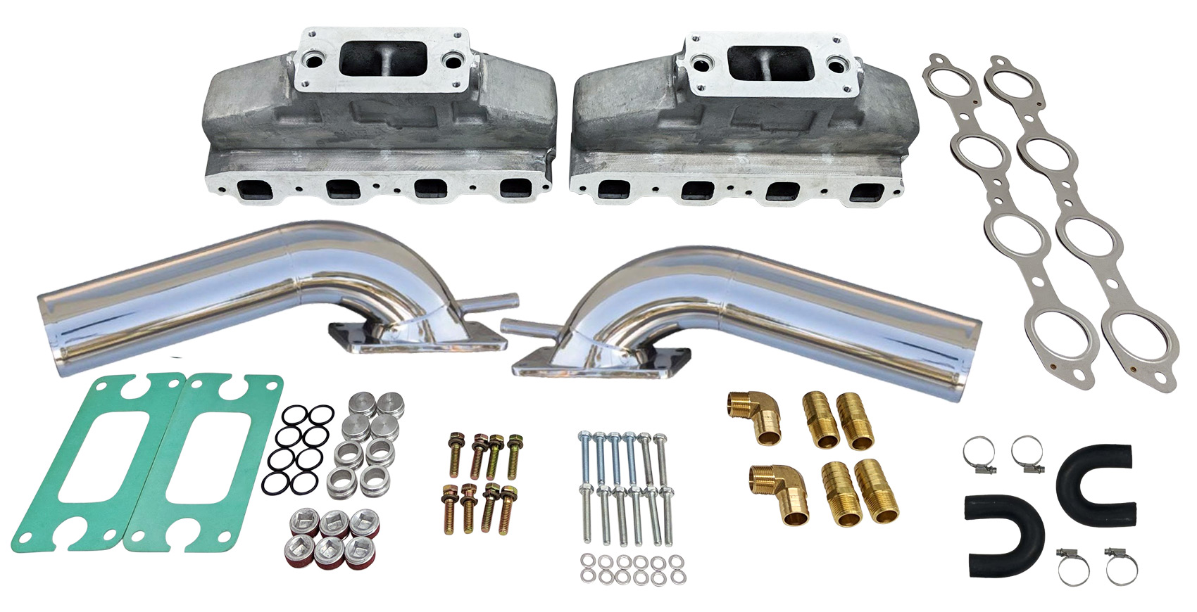 Hardin Marine Ls Marine Aluminum Exhaust Manifold System With Stainless Risers For Gm 4 8 5 3 6 0 6 2