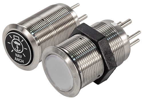 22mm LED Lit Electronic Push Button Switches with Label Options