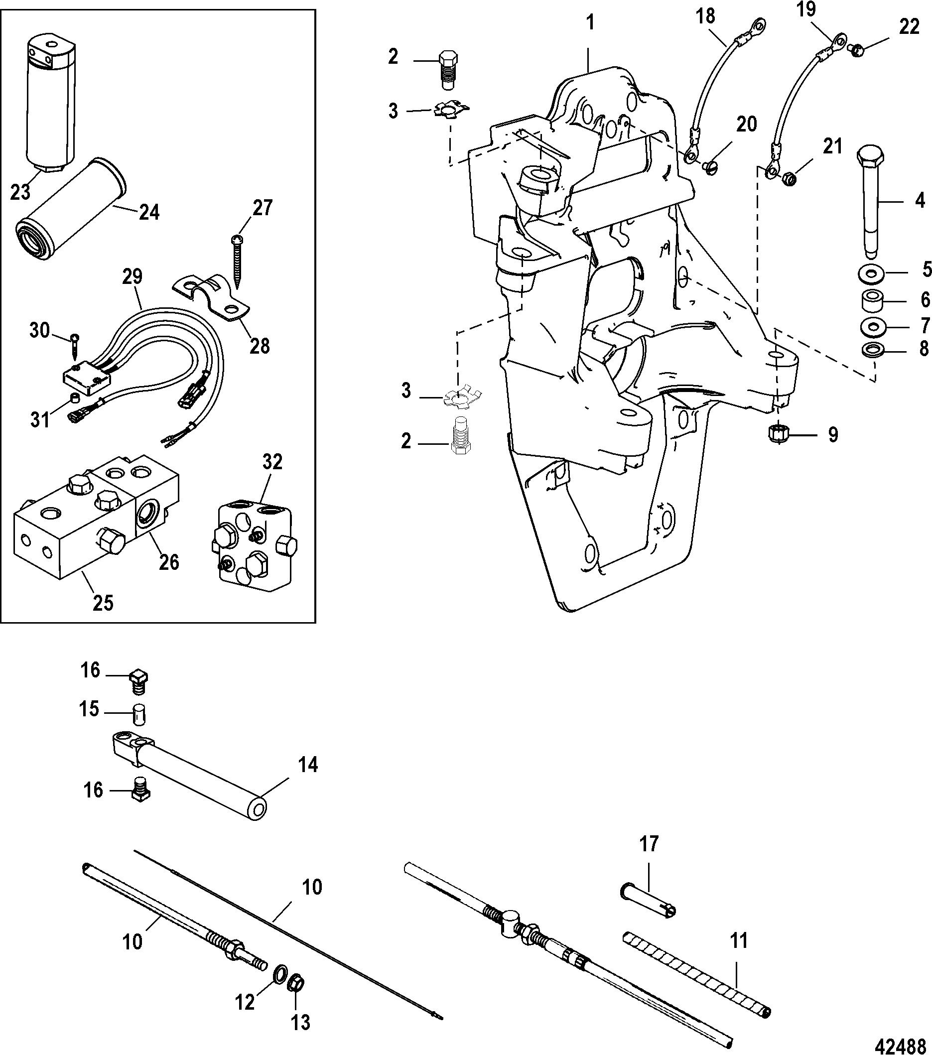 Hardin Marine - Transom Plate and Shift CableHardin Marine